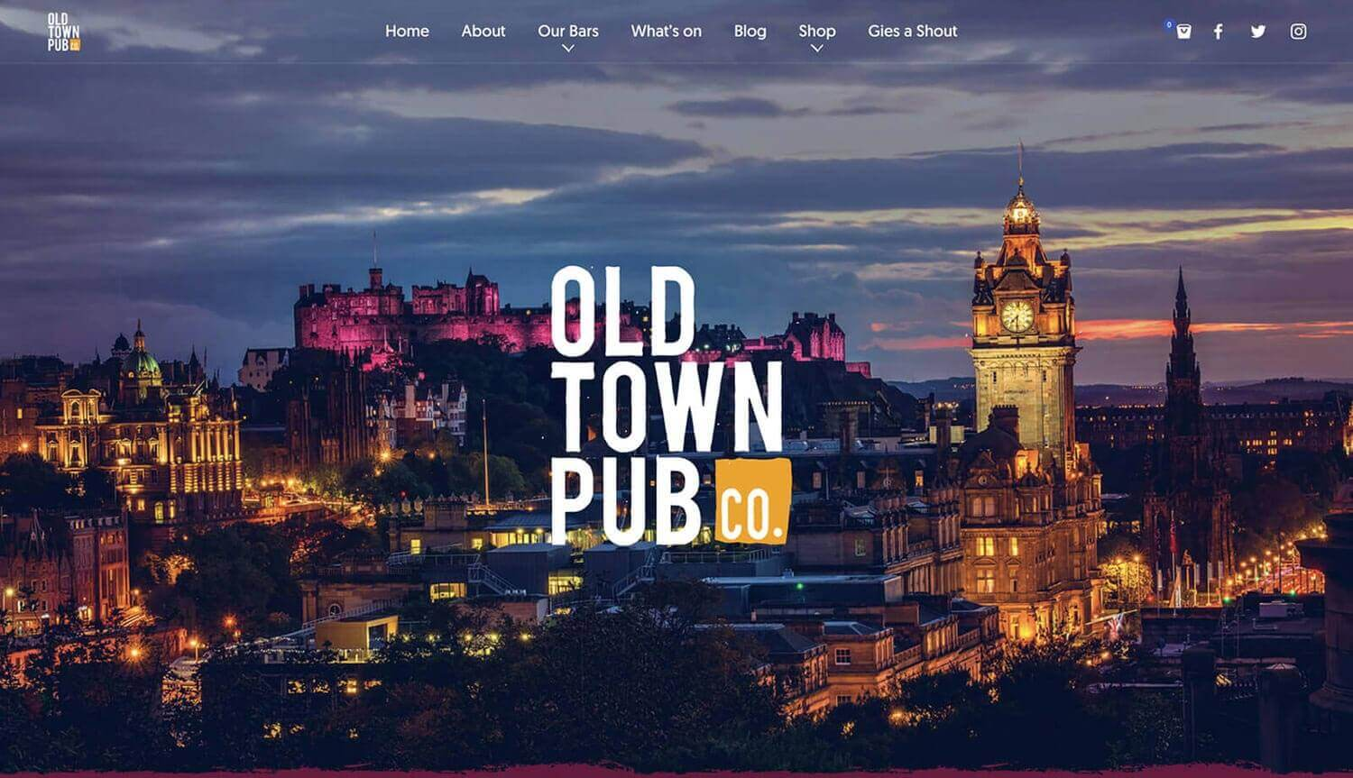 Landing Page still from Old Town Pub Co. ecommerce website design Edinburgh