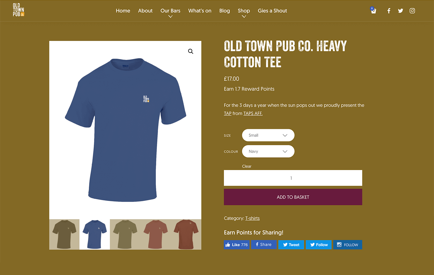 Woocommerce store front still the Old Town Pub Co. ecommerce website design Edinburgh