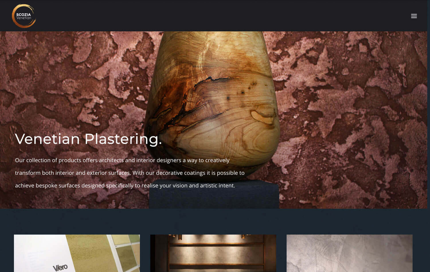 Website still of wooden vase in front of textural wall - taken from Scozia Venetian WordPress Web Design Edinburgh