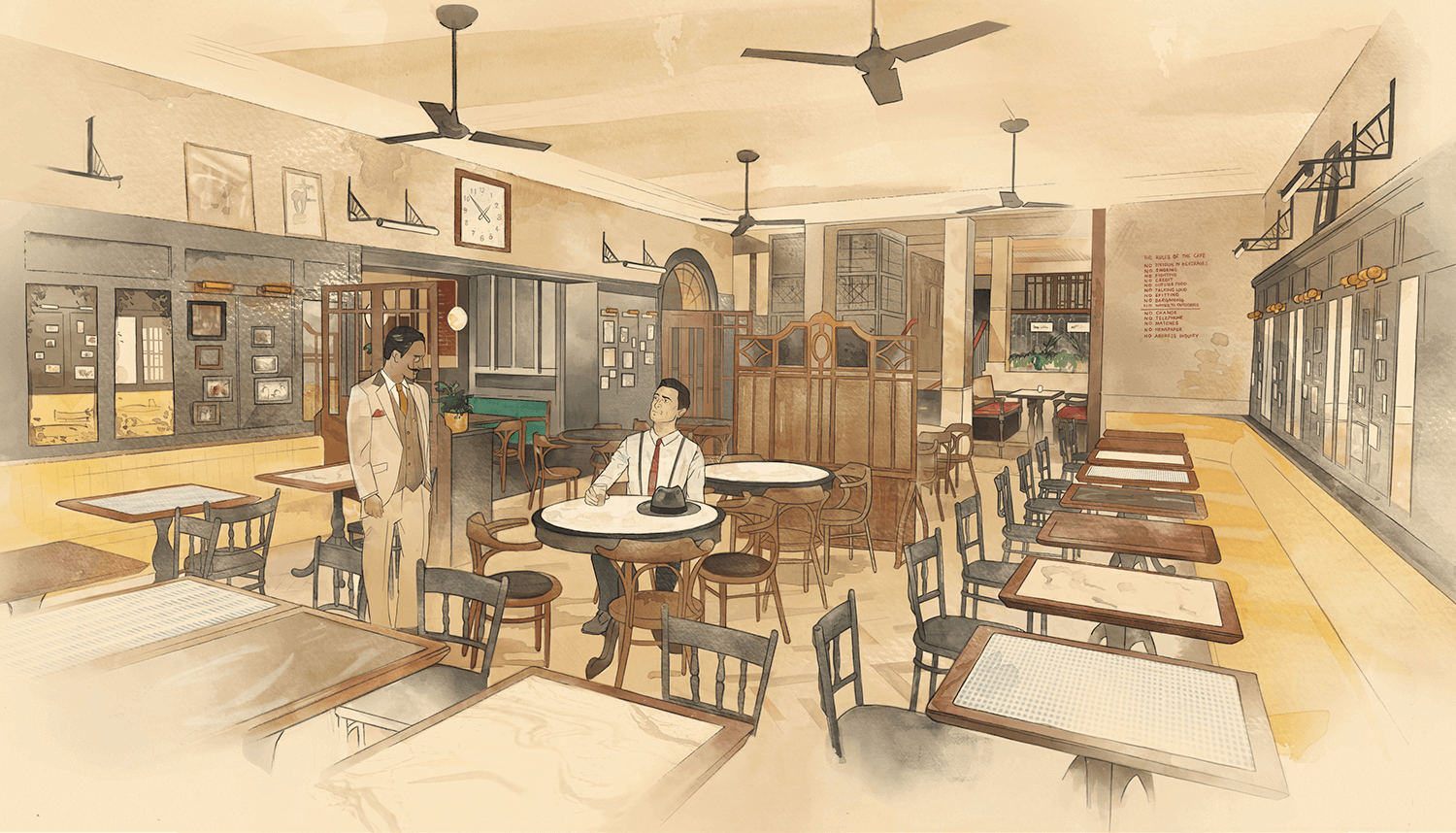Watercolour and digital illustration of Dishoom Restaurant by Edinburgh Illustrator Sheree Walker