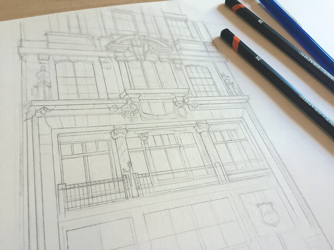 Initial pencil sketch of Dishoom Restaurant by Edinburgh Illustrator Sheree Walker