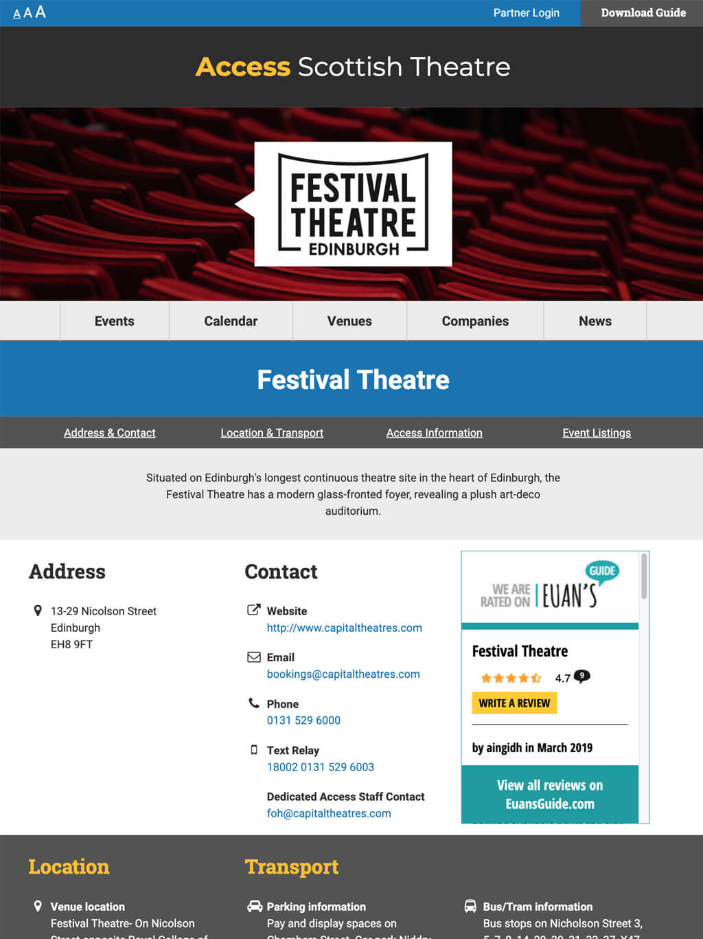 Image showing a venue details page on a tablet device for Access Scottish Theatre website - Accessible web design Scotland