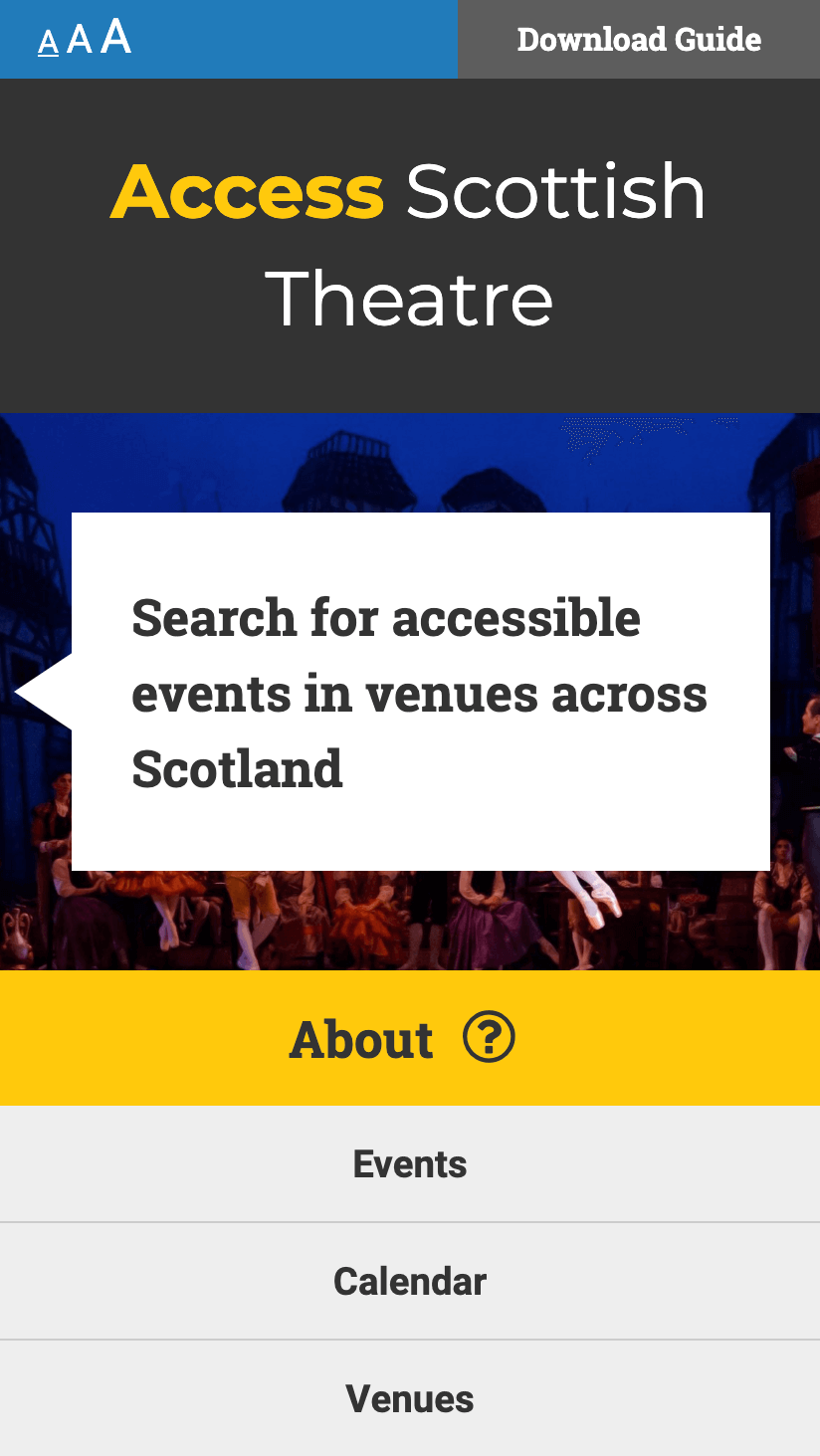 Image showing responsive mobile web design for Access Scottish Theatre website - Accessible web design Scotland