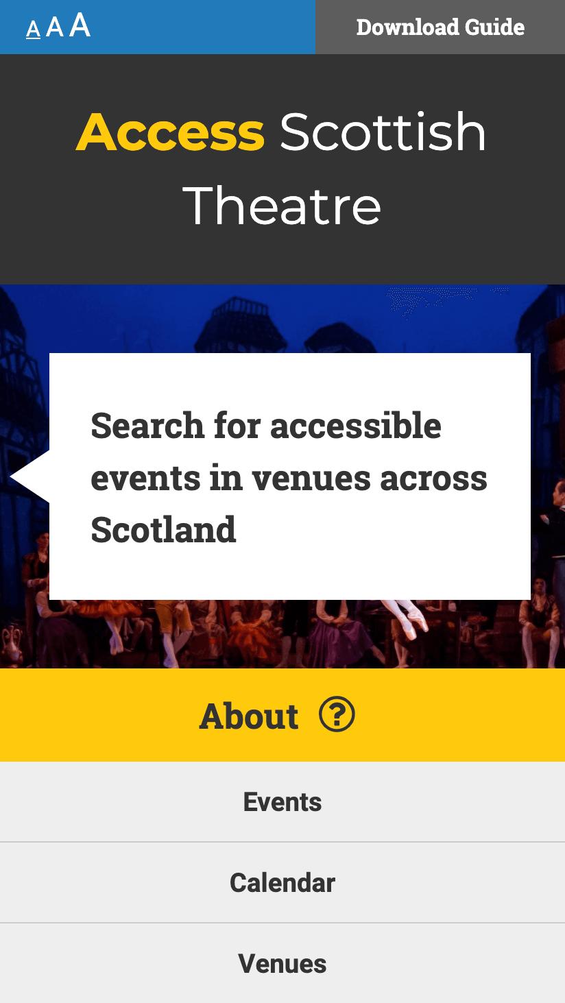 Image showing responsive mobile web design for Access Scottish Theatre website - Accessible web design Scotland