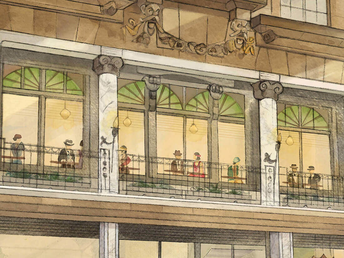 Close up of Dishoom illustration by Edinburgh Illustrator Sheree Walker