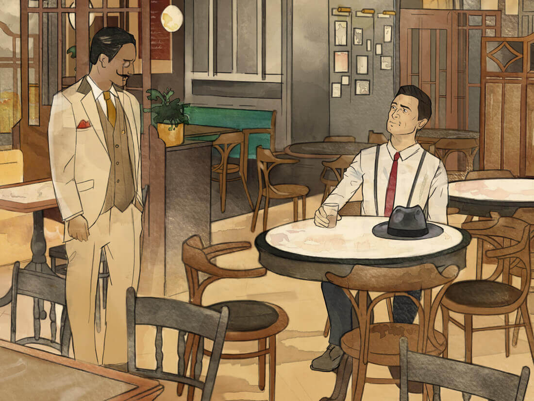 Close up of Dishoom Manchester illustration by Edinburgh Illustrator Sheree Walker