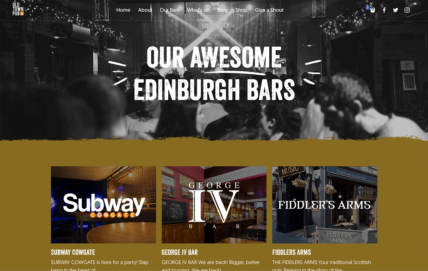 Landing Page still reading 'Our Awesome Edinburgh bars 'from Old Town Pub Co. ecommerce website design Edinburgh