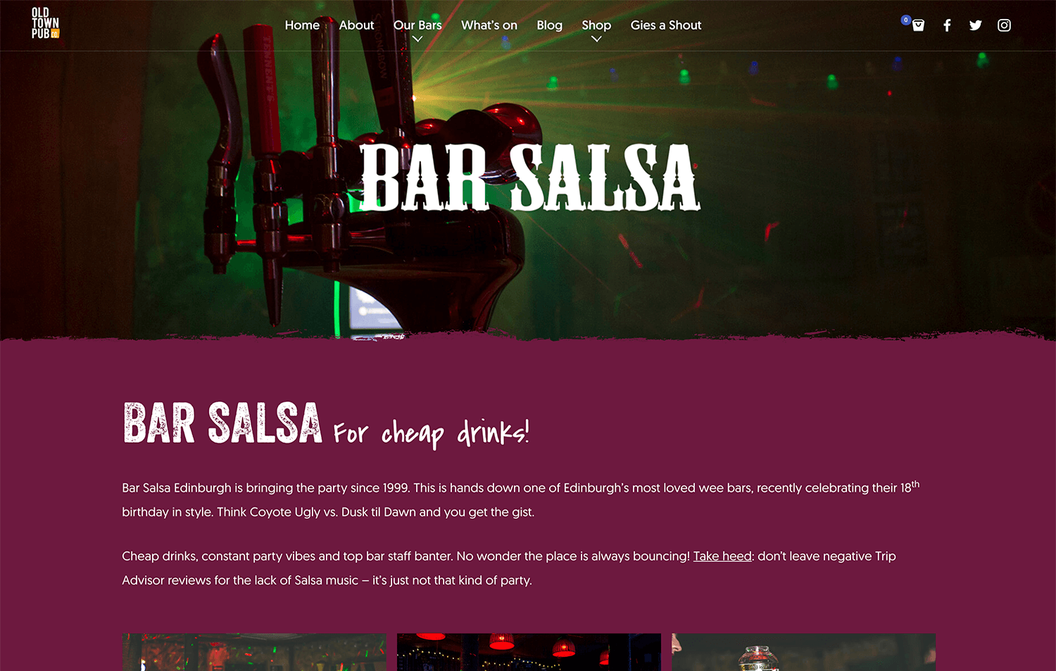 Landing Page still for Bar Salsa from Old Town Pub Co. ecommerce website design Edinburgh