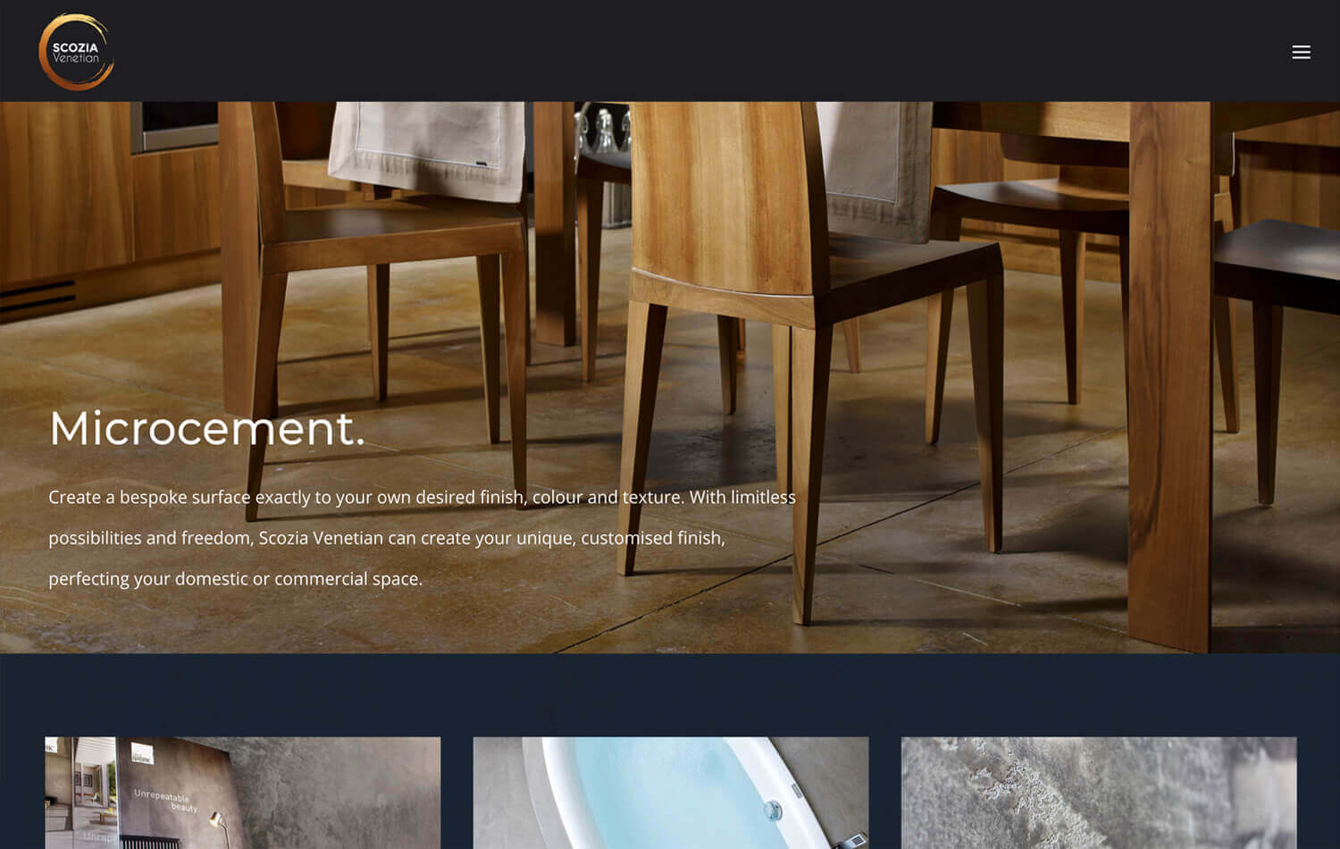A website still showing chairs on a microcement floor taken from the Scozia Venetian WordPress web design Edinburgh