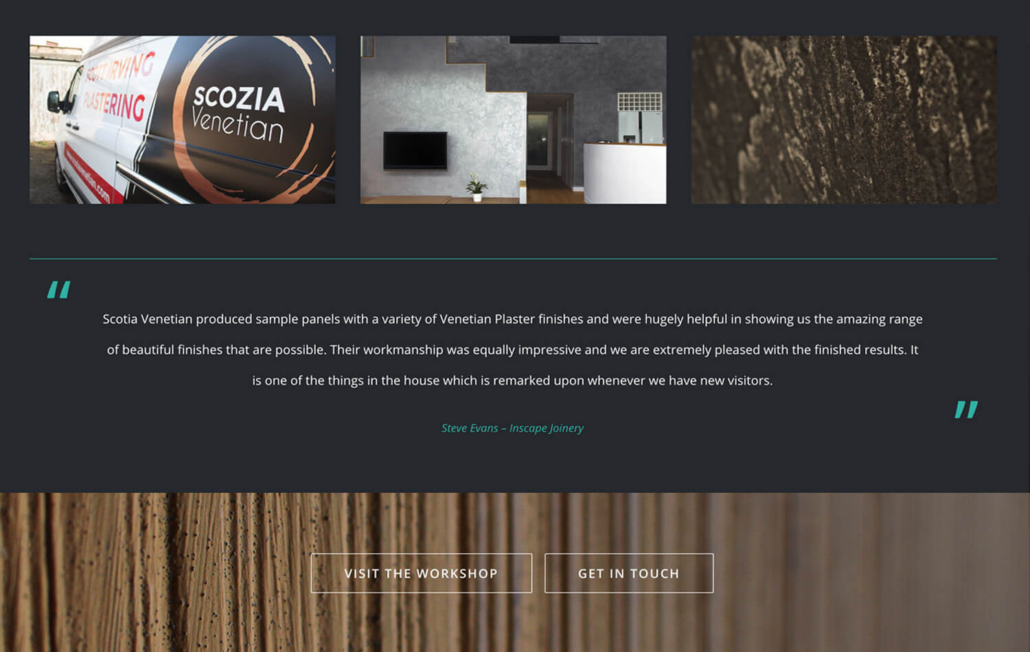 Website still showing testimonials from Scozia Venetian WordPress web design Edinburgh