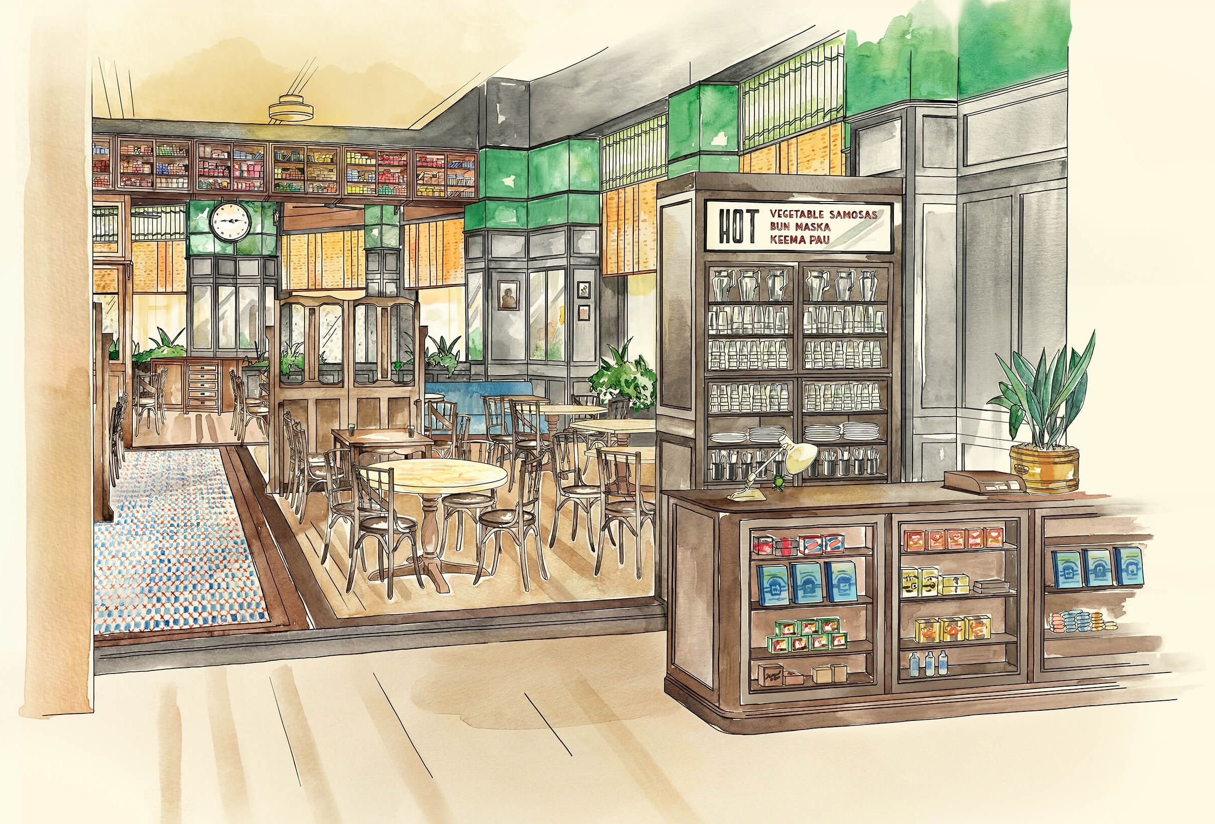 Watercolour and digital illustration of Dishoom Restaurant in Birmingham by Edinburgh Illustrator Sheree Walker