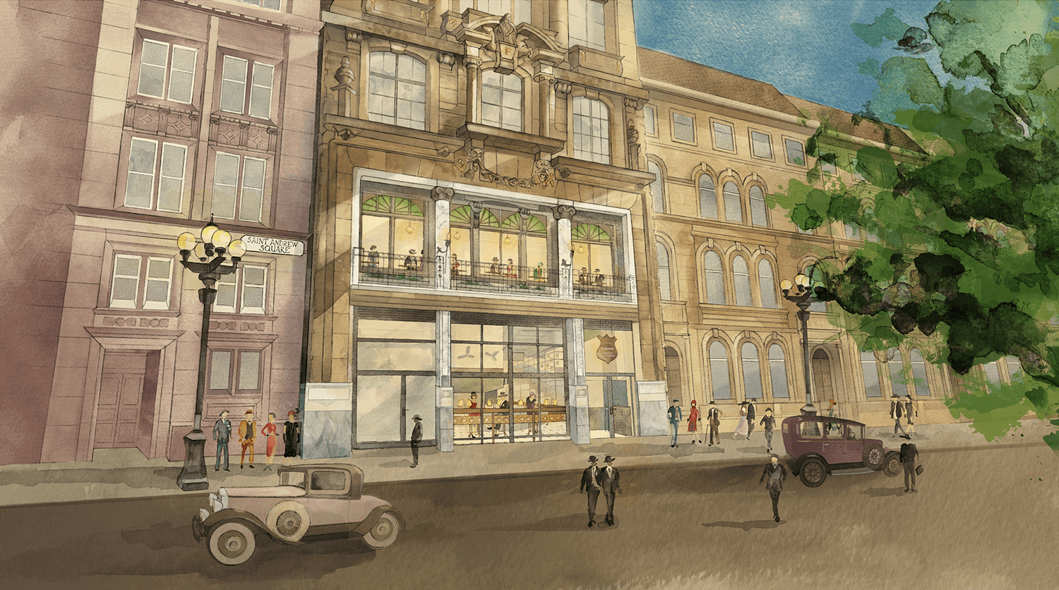Watercolour and digital illustration of the Edinburgh Dishoom Restaurant by Edinburgh Illustrator - Sheree Walker